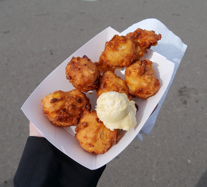 Corn fritters with honey butter