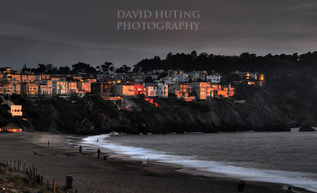 Sunset Reflecting on Baker Beach Houses (HDR)