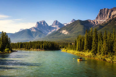 Rafting on the Bow River near Canmore in Canada