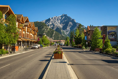 Scenic street view of the Banff Avenue in Banff, Alberta
