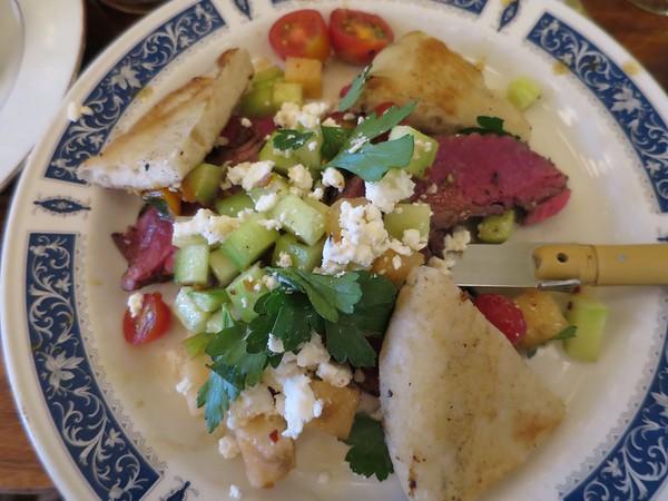 Publican: Sirloin steak fattoush - heirloom tomato, watermelon, cucumber, feta, grilled pita