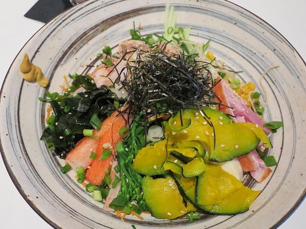 Slurping Turtle: Hiyashi Chu-Ka: homemade ramen noodles, sweet corn, cucumber, tomato, kabocha squash, pickled ginger, pork, shrimp, ham, kani kama, citrus-soy dressing