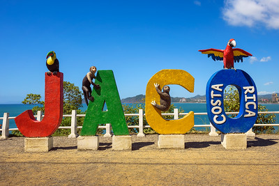 Colorful entry Sign for the city of Jaco in Costa Rica