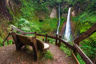 Empty bench at the Catarata del Toro waterfall in Costa Rica