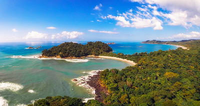 Aerial view of a beach in the Manuel Antonio National Park, Costa Rica