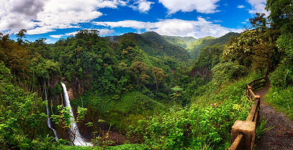 Catarata del Toro waterfall with surrounding mountains in Costa Rica