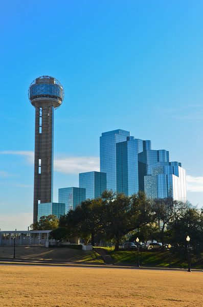 Skyline with Reunion Tower looking From Dealey Plaza, Dallas, TX
