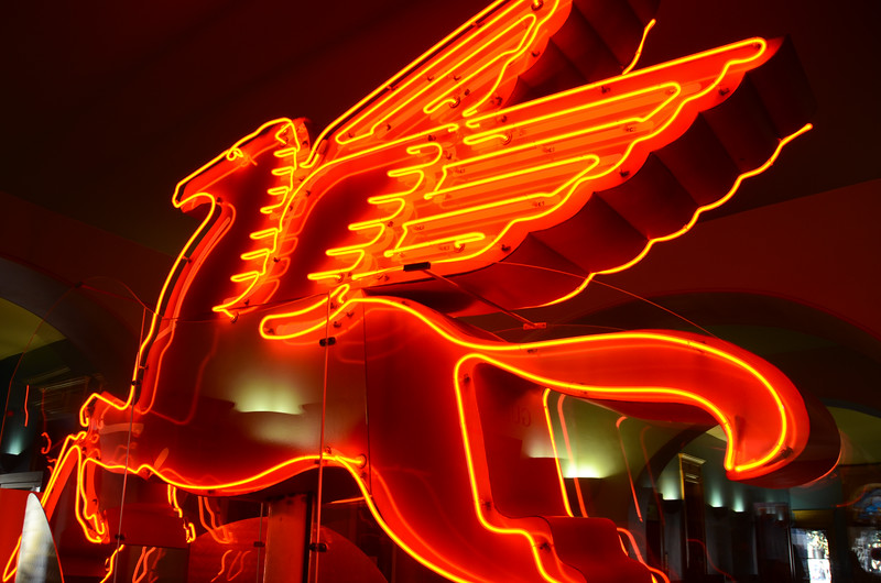 Mobil Pegasus Neon Icon on display at Old Red Courthouse, Dallas, TX