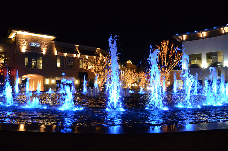 Fountain at Shops at Legacy, Frisco, TX (north of Dallas) and Christmas Lights