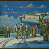 Painting at the Evergreen aviation and Space Museum showing the - Boeing B-17G Flying Fortress - Bomber Aircraft