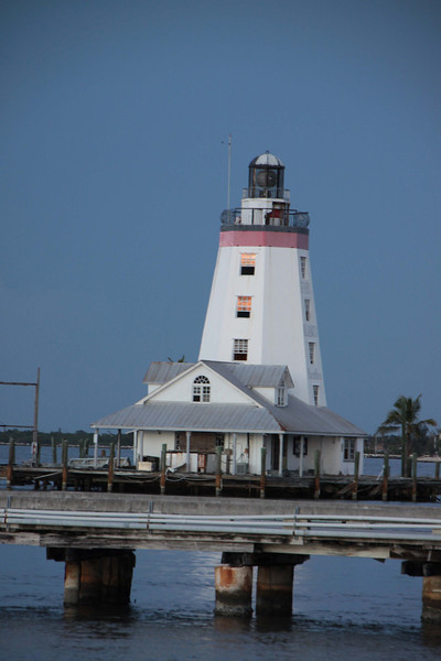 A small light house in the harbor next to our time share on Marathon Keys.