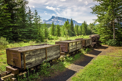 Coal mine train in the ghost town of Bankhead near Banff, Canada