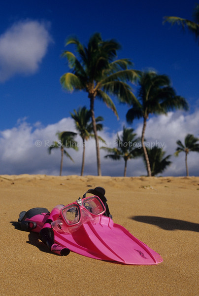 Mask, Fins & Snorkel on Beach, Kahekili Beach Park, Maui, Hawaii