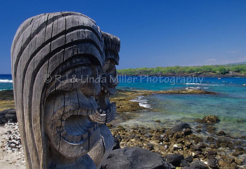 Wood Carving on God's Beach, Pu'uhonua o Honaunau National Park, Hawaii, Hawaii