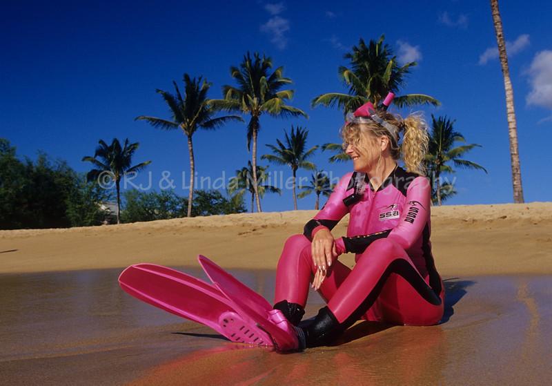 Woman in Snorkelling Gear, Kahekili Beach Park, Maui, Hawaii
