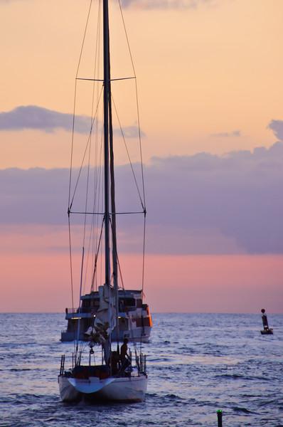 Sailboats Going Out to Sea, Sunset, Maui, Hawaii