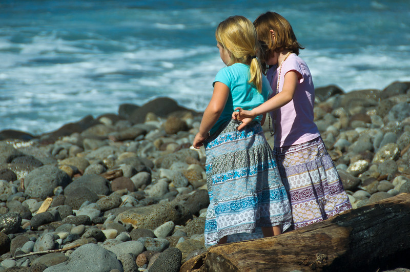 Little Girls on Rocky Beach, Maui, Hawaii