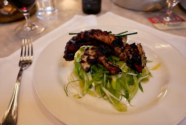 Grilled octopus with potato, celery, green onion & lemon