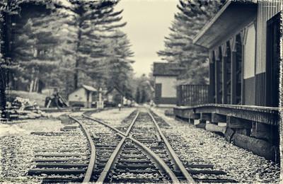 Vintage trains, rail cars and a narrow guage track