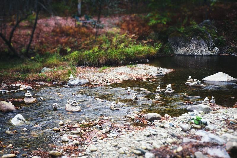 Rock piles in the creek