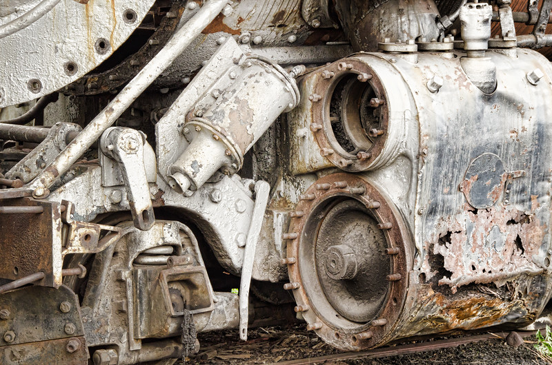 Train Machinery on old steam locomotive in Chama, NM railyard museum