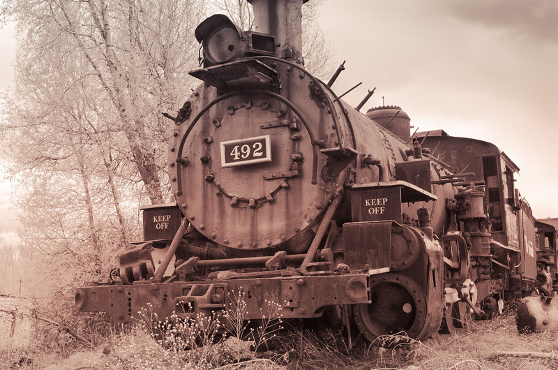 Train 492. Old Steam Locomotive  in Chama NM Railyard.