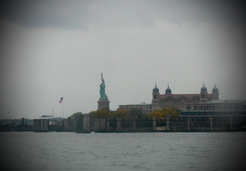 Statue of Liberty in the distance from the ferry