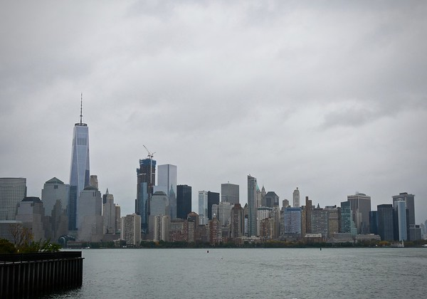 Bit gloomy on Saturday, view from Liberty Harbor ferry terminal