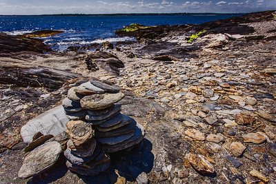 Rocky bseashore and the pile of stones...