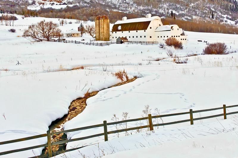 White Barn 4. Reflections in Creek at White Barn near Park City, Utah.