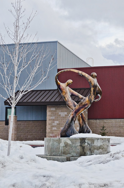 Statue outside Eccles Auditorium, Park City, UT