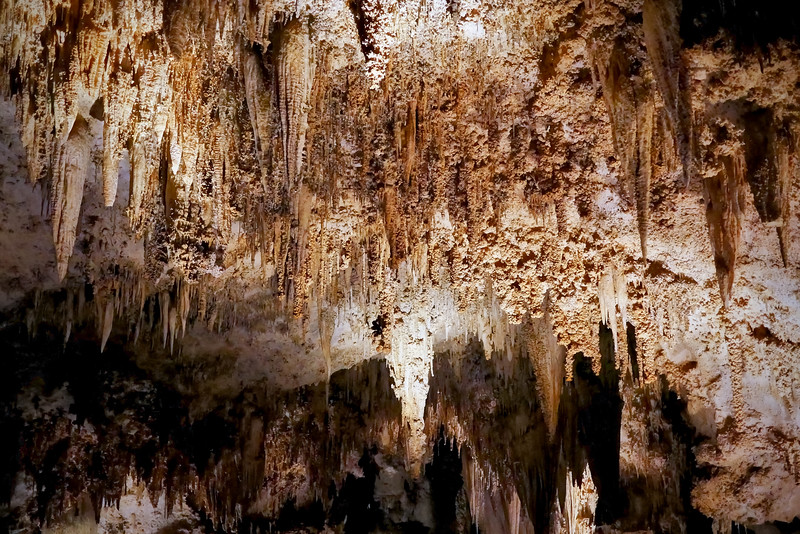 "Speleothems: stalactites (ceiling), stalagmites (floor) and other cave deposits made chiefly of calcite are called ""decorations"" or ""speleothems.""  Speleothems form when groundwater containing calcium bicarbonate solution seeps into the cave.  When the solution becomes exposed to cave air, carbon dioxide gas is released, and calcite is deposited.  ""Soda straws"" are thin, hollow stalactites formed by dripping water."