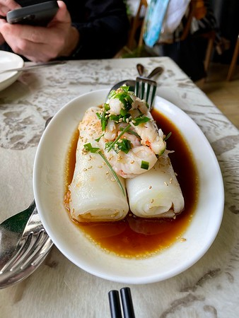 Rock shrimp cheong fun: garlic chive, dried shrimp
