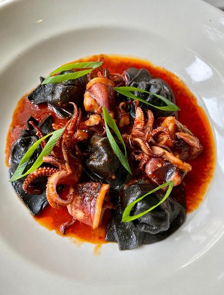 Squid ink wontons: Monterey squid, shrimp, pork, chili