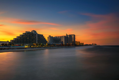 Sunset skyline of Daytona Beach in Florida, USA