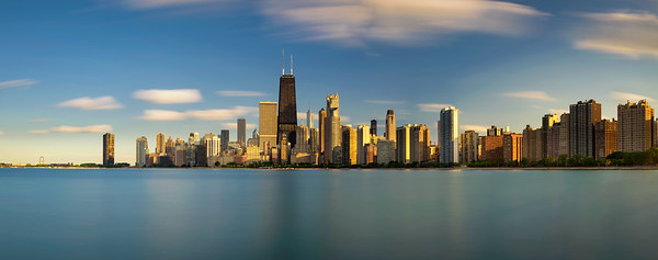 Chicago skyline at sunset viewed from North Avenue Beach