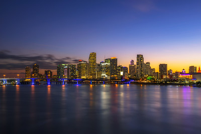 Sunset above Downtown Miami Skyline and Biscayne Bay