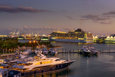 Luxury MSC Divina cruise ship in the Port of Miami at sunset