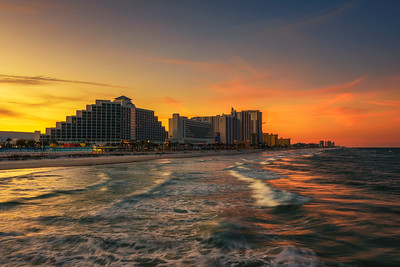 Sunset skyline of Daytona Beach, Florida