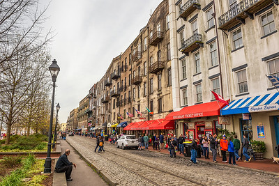 Historic buildings, shops and restaurants in the River Street, S