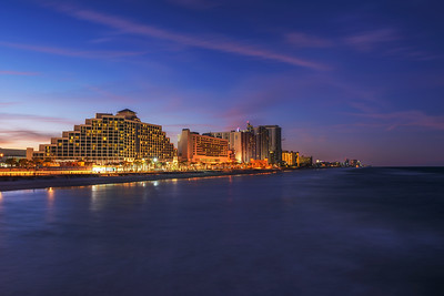 Night skyline of Daytona Beach in Florida, USA