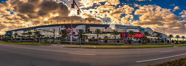 Panorama of the Daytona International Speedway in Daytona Beach, Florida.