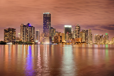 Miami bayfront skyline at night