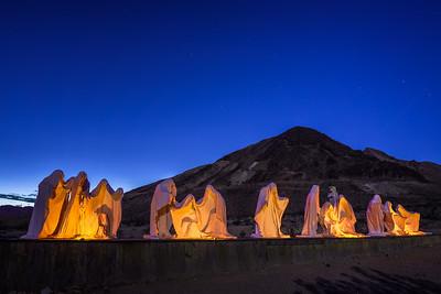 Creepy ghost sculpture installation in Rhyolite, Nevada