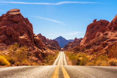 Road running through the Valley of Fire in Nevada