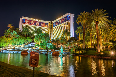 The Mirage hotel at night in Las Vegas