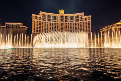 The Fountains of Bellagio at night in Las Vegas