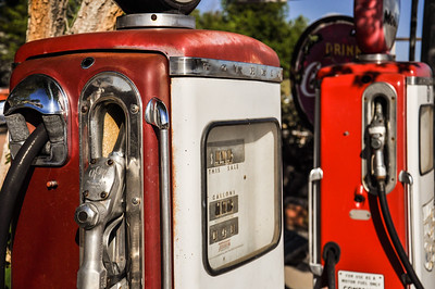Vintage gas pumps on rohistoric route 66 in Arizona