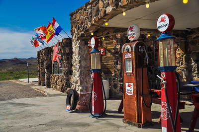 Restored antique gas pumps