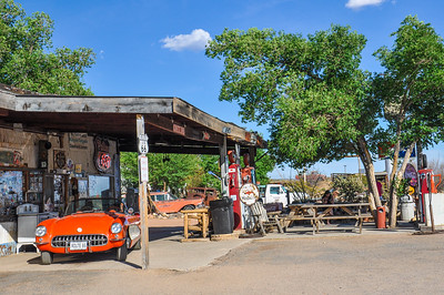 HACKBERRY, AZ - MAY 15, 2013: A classic corvette outside the antique Hackberry General Store